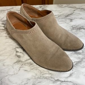 Lucky Brand taupe leather low heel booties boots